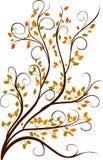 Decorative autumn tree. Curled decorative autumn tree isolated on white vector illustration