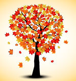 Decorative Autumn Tree Silhouette With Brown Leaves - full color Stock Images