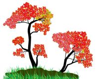 Decorative Autumn Tree Silhouette With Brown Leaves Stock Photos