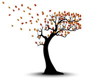 Decorative Autumn Tree Silhouette With Brown Leaves And Wind Stock Photo