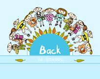 Decorative back to school kids background Stock Images
