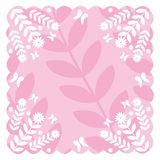 Decorative background. Pink and white decorative design with flowers and butterflies Stock Illustration