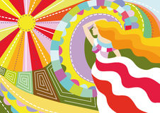 Decorative background. Bright decorative background with the girl, the sun and patterns Royalty Free Stock Photography