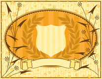 Decorative background. With shield and floral elements Stock Image