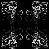 Decorative background. Black wallpaper background with silver floral ornament royalty free illustration