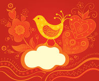 Decorative background with bird. And flowers Royalty Free Stock Image