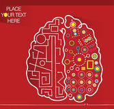 Decorative background with brain. Decorative red background with brain and place for your text Royalty Free Stock Image