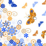 Decorative background with butterflies and flowers. Silhouettes of butterflies on a white background Stock Photo