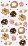 Decorative background with cakes biscuits donuts muffins Royalty Free Stock Images