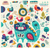 Decorative background with cat Stock Photography