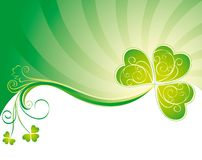 Decorative background with clover. Green decorative background with clover Stock Photo