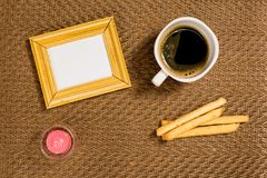 Decorative background coffee, portrait door, and breakfast royalty free stock photography