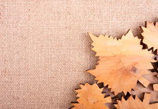 Decorative background with curved leaves on the burlap Stock Image