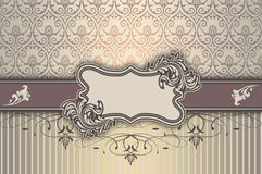 Decorative background with elegant frame and patterns. Royalty Free Stock Photo