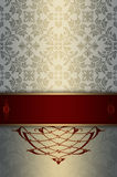 Decorative background with floral patterns and elegant border. Royalty Free Stock Photos