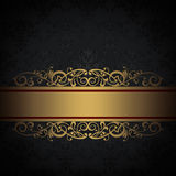 Decorative background with floral patterns and gold border. Stock Photography