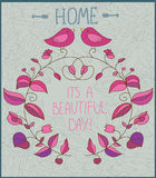 Decorative background with flowers and birds and the inscription day, Stock Photo