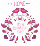 Decorative background with flowers and birds and lettering a beautiful day on white background, Stock Image