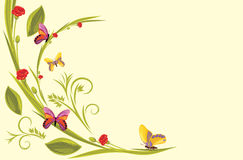 Decorative background with flowers and butterflies royalty free stock image