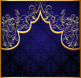 Decorative background frame with gold(en) peacock Stock Image