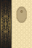 Decorative background with gold ornaments and frame. Royalty Free Stock Photo