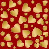 Decorative background with golden hearts and balls Royalty Free Stock Photos