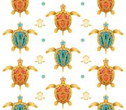 Decorative background of golden turtles stock illustration