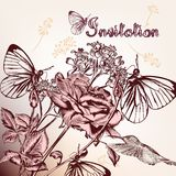 Decorative background with hand drawn flowers, butterflies and b Stock Photos