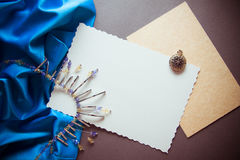 Decorative background with metal beads and drapery Royalty Free Stock Photos