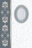Decorative background with old-fashioned oval frame. Vintage background with old-fashioned oval frame,border and floral patterns Stock Photography