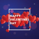 Happy Valentines Day Vector Background. Decorative  background with realistic 3D looking hearts created with gradient mesh, happy Valentines Day typographic Stock Photo