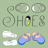 Decorative background with shoes Stock Images