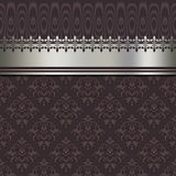 Decorative background with silver border and vintage patterns. Stock Photography