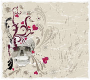 Decorative background with skull and pattern Royalty Free Stock Photos