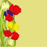 Decorative background with stylized tulips Stock Photography