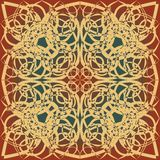Decorative background tile in art deco design, beige, brown, red and green Royalty Free Stock Images