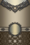 Decorative background with vintage frame and ornament. Royalty Free Stock Photography
