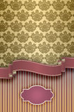 Decorative background with vintage patterns, frame and ribbon. Royalty Free Stock Photography
