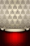 Decorative background with vintage patterns and ribbon. Stock Photos