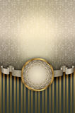 Decorative background with vintage patterns and ribbon. Stock Image