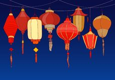 Decorative Background With Chinese Red Paper Street Lanterns Of Various Shapes And Sizes. Backdrop With Beautiful Royalty Free Stock Images
