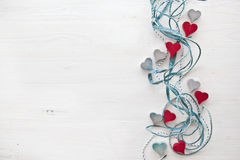 Decorative background with wooden hearts Stock Photography