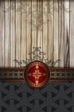 Decorative background with wooden planks and vintage patterns. Royalty Free Stock Photography