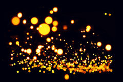 Decorative background - yellow garlands street lights - bokeh Stock Photography