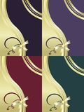 Decorative  backgrounds set. With ribbon  and golden gradient elements Royalty Free Stock Photography