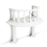 Decorative balcony with columns  on white background. 3d Stock Photography