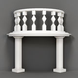 Decorative balcony on a gray background. 3d rendering Royalty Free Stock Photo