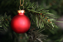 Decorative ball. Red ball to announce the addition of passion and celebrate the holidays Stock Photos