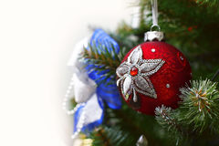 Decorative ball on the Christmas tree Royalty Free Stock Photography