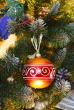 Decorative ball on the Christmas tree Royalty Free Stock Photos